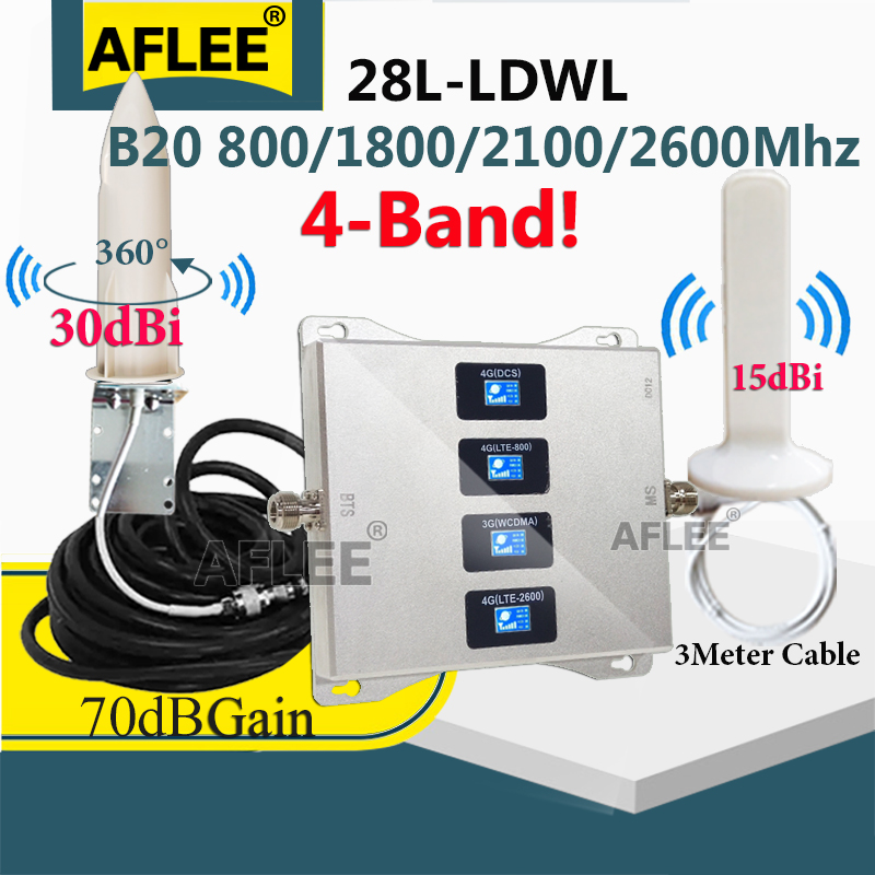4G Amplifier Multi-Band B20 800 900 1800 2100 2600mhz 4G CellPhone Cellular Amplifier GSM 2G3G4G Mobile Signal Booster Repeater