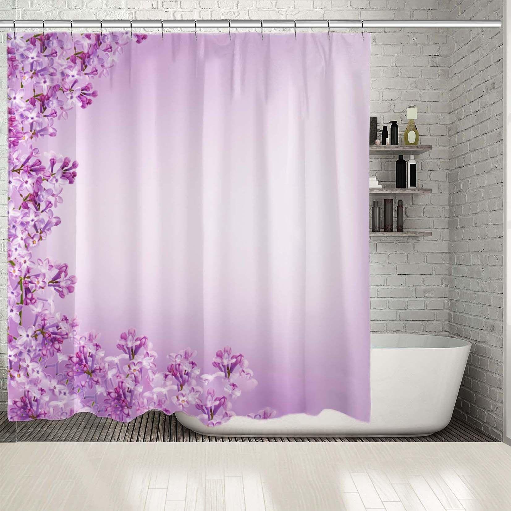 shower curtain lilac flowers spring garden blossom seasonal nature decorative photo printed purple white