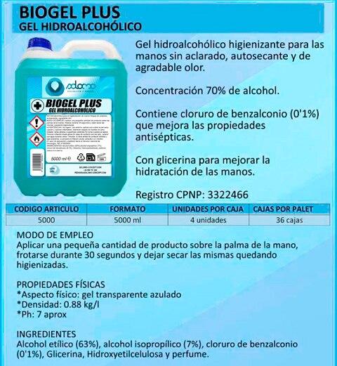 5 Litros De Gel Hidroalcoholico Desinfectante Para Manos Con Alcohol Al 70%. BIOGEL PLUS