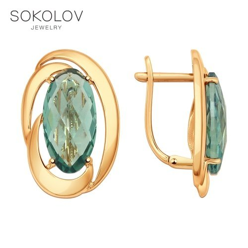 SOKOLOV Drop Earrings With Stones With Stones With Stones Of Gold With Quartz Fashion Jewelry 585 Women's Male