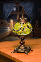 Yellow Color Turkish Handmade mosaic table lamps
