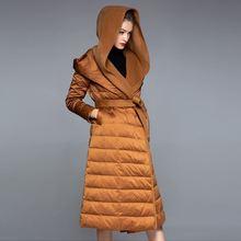 Obrix гусиный пух Высокая уличная Женская куртка длинный с капюшоном пояс длинный рукав кашемир уличная модная куртка для женщин