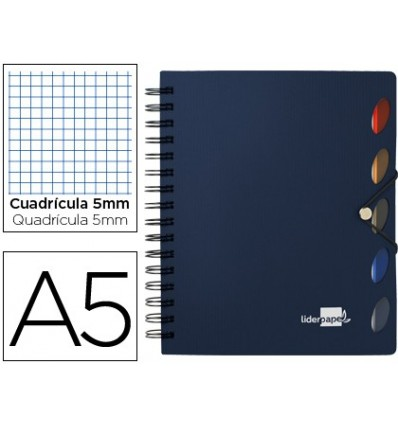 SPIRAL NOTEBOOK LEADERPAPER A5 MICRO EXECUTIVE PLASTIC CAP 100H 80GSM TABLE 5MM 5 SEPARATORS WITH GOMILLA BLUE