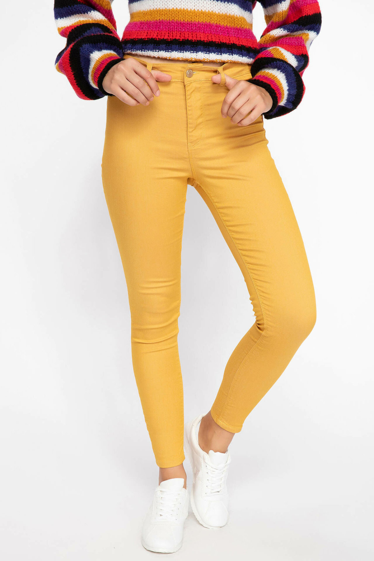 DeFacto Woman Trousers Women Solid Color Fit Body Pencil Pants Yellow Blue Green Female Bottoms Slim Trousers-J5604AZ18AU
