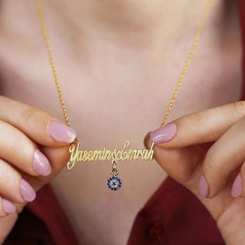 Vaoov 925 Sterling Silver Personalized Handwritten Name Eye Evil Necklace