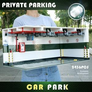 Image 2 - Yeshin Techic części samochodowe 1:8 Technic Parking Model zestawy montażowe klocki klocki akcesoria samochodowe dzieci prezent na boże narodzenie