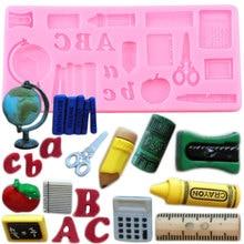 Narzędzia do nauki silikonowe formy Book Pen linijka Cupcake Topper DIY kremówka formy do dekorowania ciast narzędzia foremka do czekolady i lukru