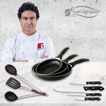 Juego de sauce pans (16,20, 24 cm) in aluminum pressed with knives and kitchen supplies SAN ignacio Collection Navy Black