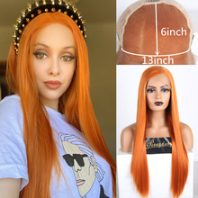 RONGDUOYI Long Silky Straight Wig Orange Hair Synthetic Lace Front Wigs