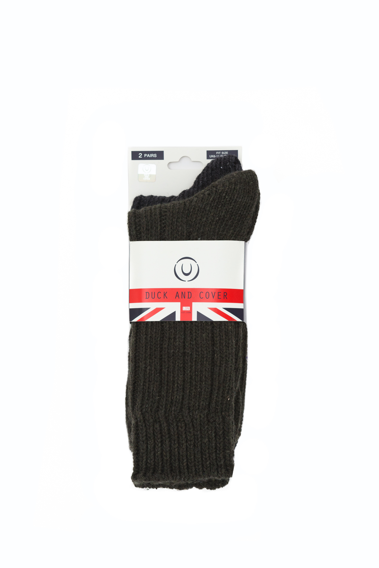 DUCK AND COVER MOSBY Socks 2 colors 2 Pairs for men Unique Size DC2Y111803BA2STK GREEN MARL/NAVY