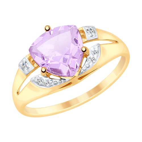 SOKOLOV Ring Gold With Amethyst And Cubic Zirconia