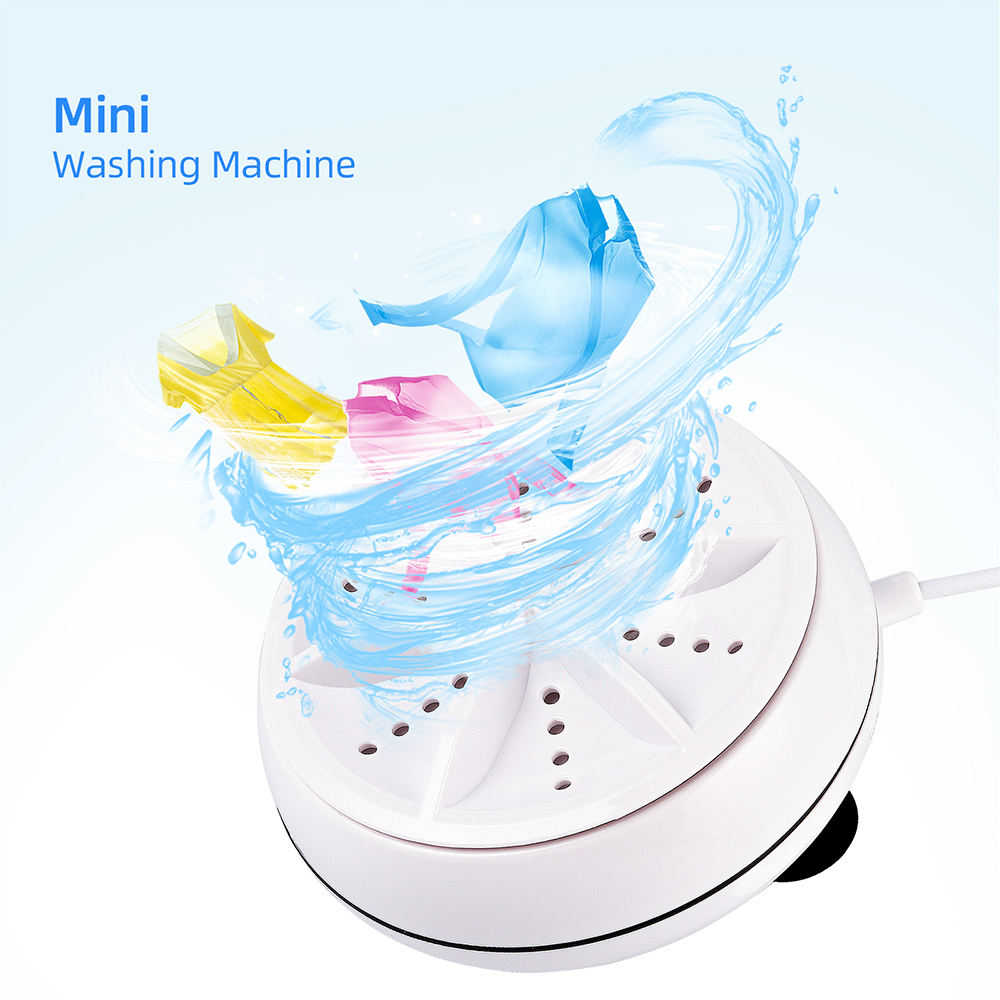 2 in 1 Ultrasonic Turbo Washing Machine Portable Travel Washer Air Bubble And Rotating Mini Ultrasonic Washing Machine