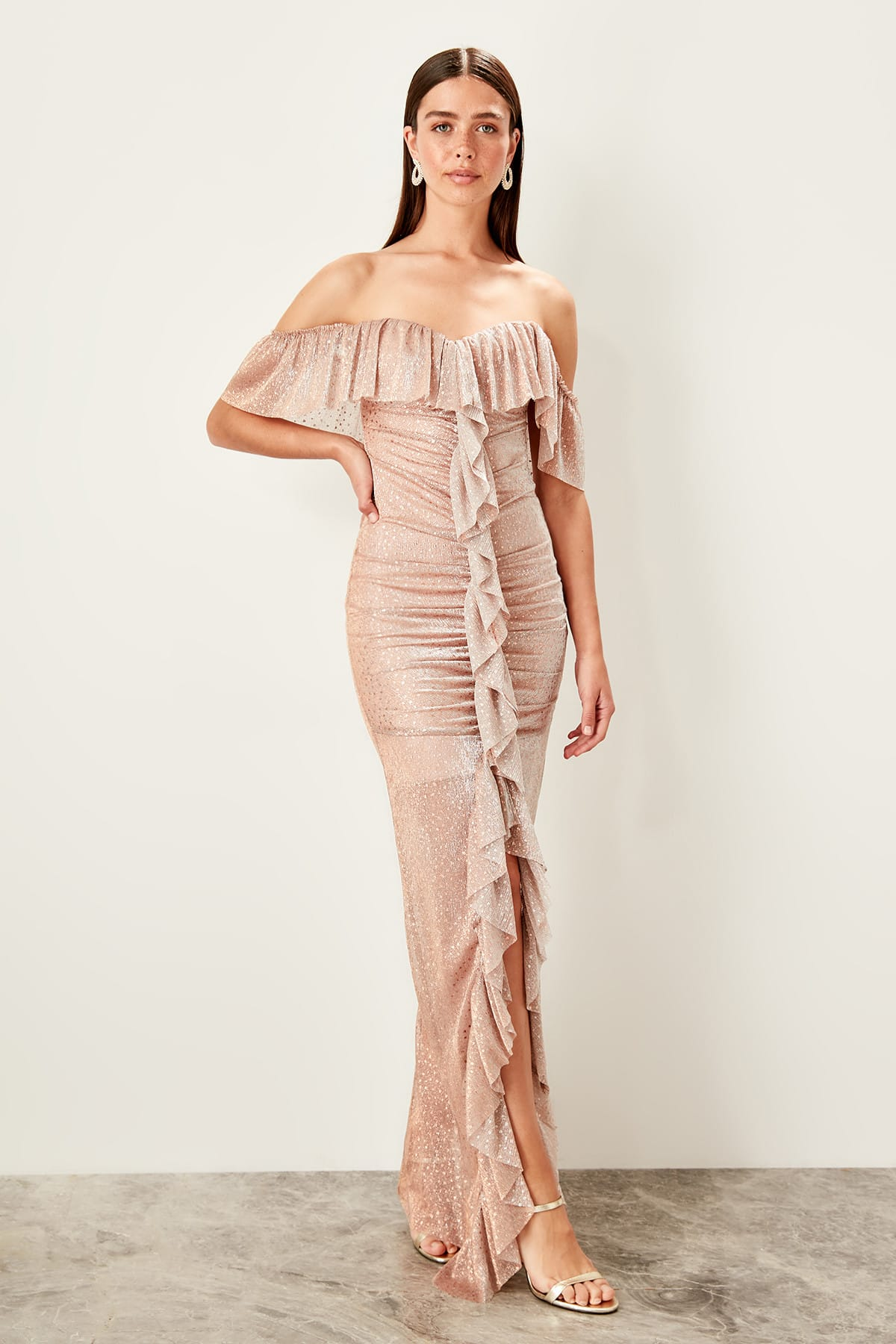 Trendyol Ruffle Evening Dress TPRSS19UT0136
