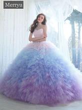 Ombre suknia Quinceanera suknie Sweetheart dekolt suknie na bal maturalny długość kaplicy tiul potargane słodka sukienka tanie tanio LEOSOXS Kochanie Bez rękawów Pociąg sweep Długość podłogi Prom dresses Tulle Na krzyż Ruffles Candy Color Naturalne