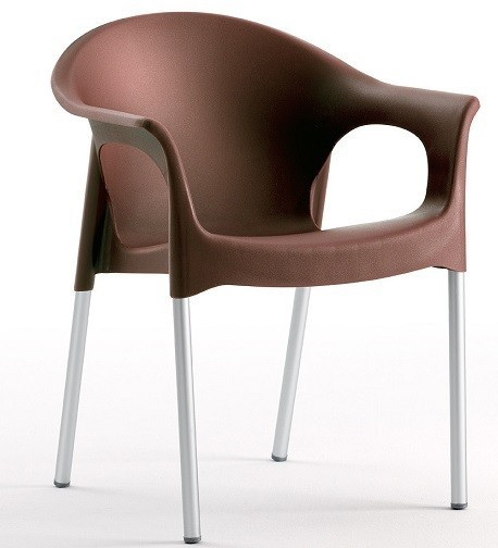 Armchair NILE Aluminum Stackable Polypropylene Chocolate *