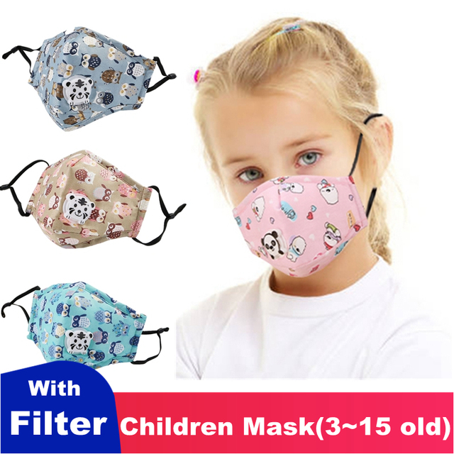 Kids Children Mask Respirator Protective Face Mask With Filter Valve Cartoon Mouth Mask Girl Boy Child Carton Tiger Valve
