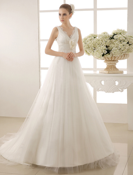 V-Neck Chapel Train Wedding Dress With Pearls Detailing