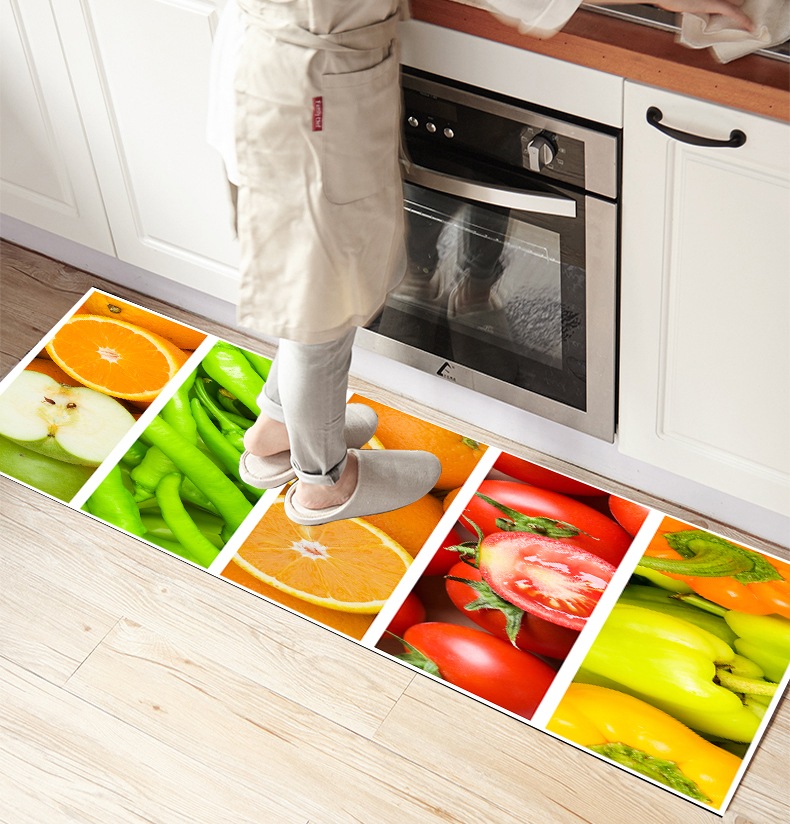 Else Collored Fruits Vegetables Patchwork 3d Print Non Slip Microfiber Kitchen Counter Modern Decorative Washable Area Rug Mat