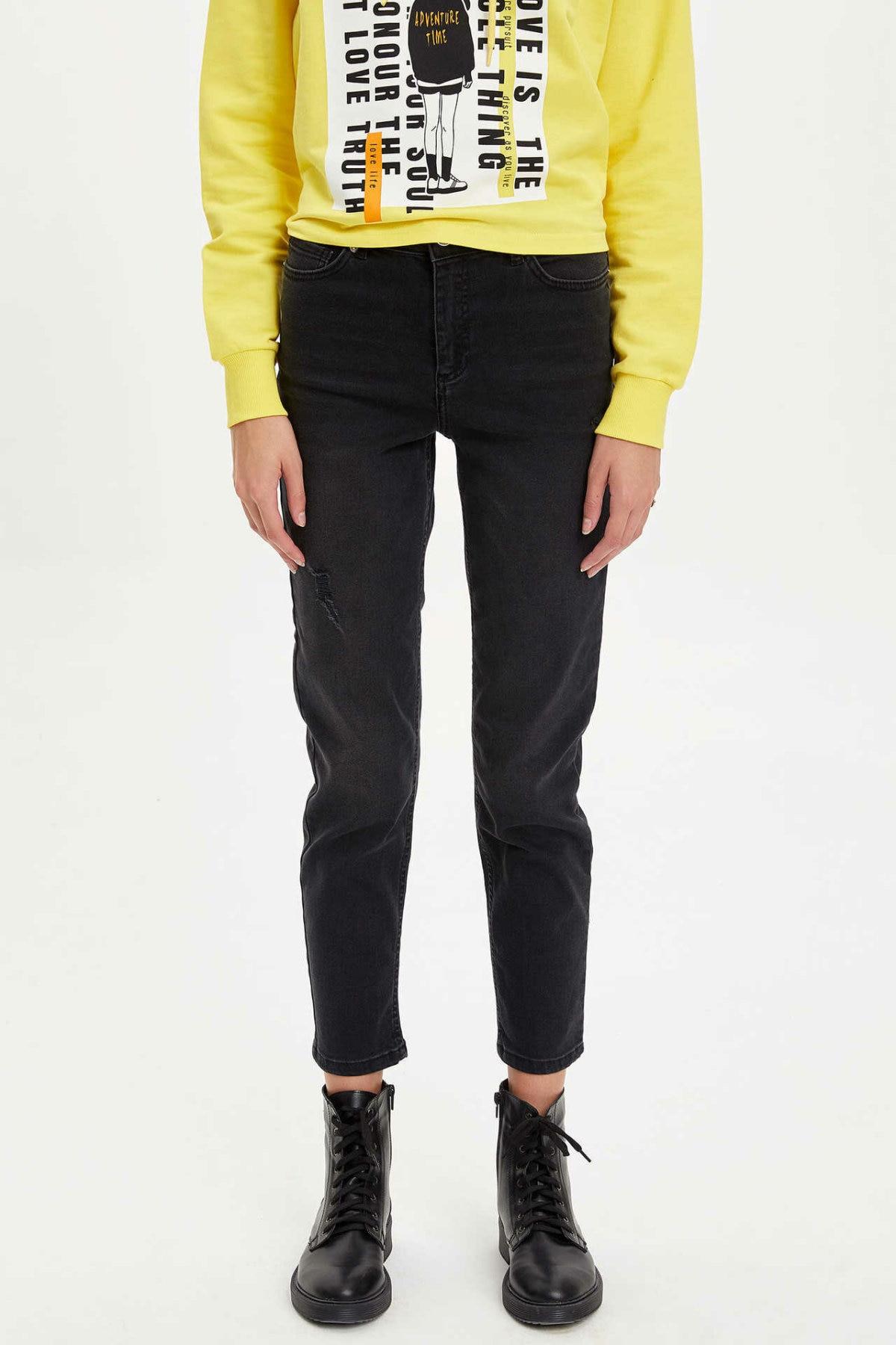 DeFacto Women Fashion Solid Jean Trousers Womens Mid Waist Elastic Denim Female Loose Pencil Crop Pants Lady - L7327AZ19AU