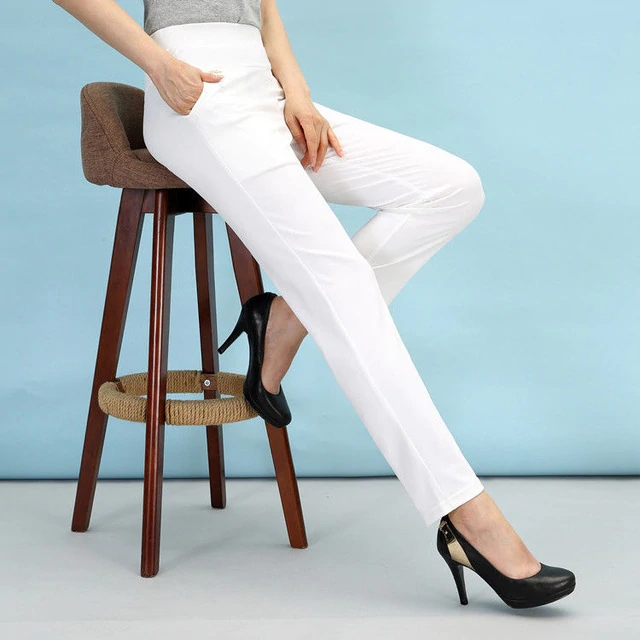 Women's casual pants 2020 new summer and autumn high waist elastic straight trousers slim trousers women
