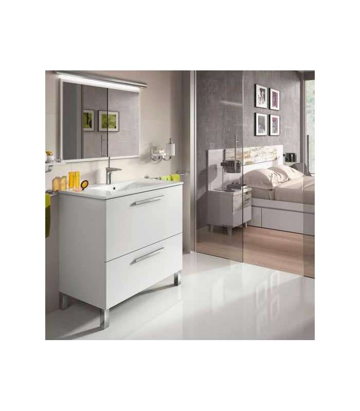 Bathroom Furniture Urban With Sink And Mirror White Luster
