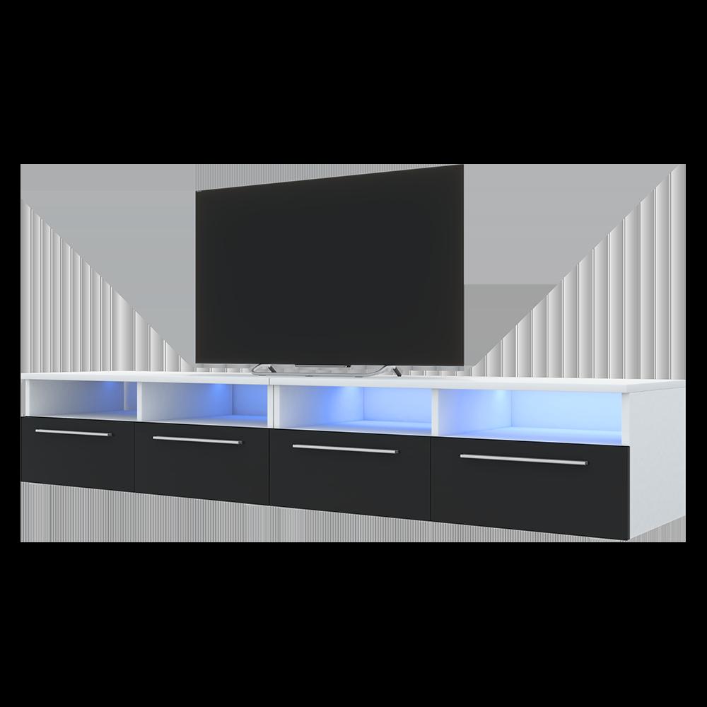 Selsey PHIRIS DOUBLE - Meuble tv / Banc tv (2x100 cm, blanc mat / noir brillant, éclairage LED) 3