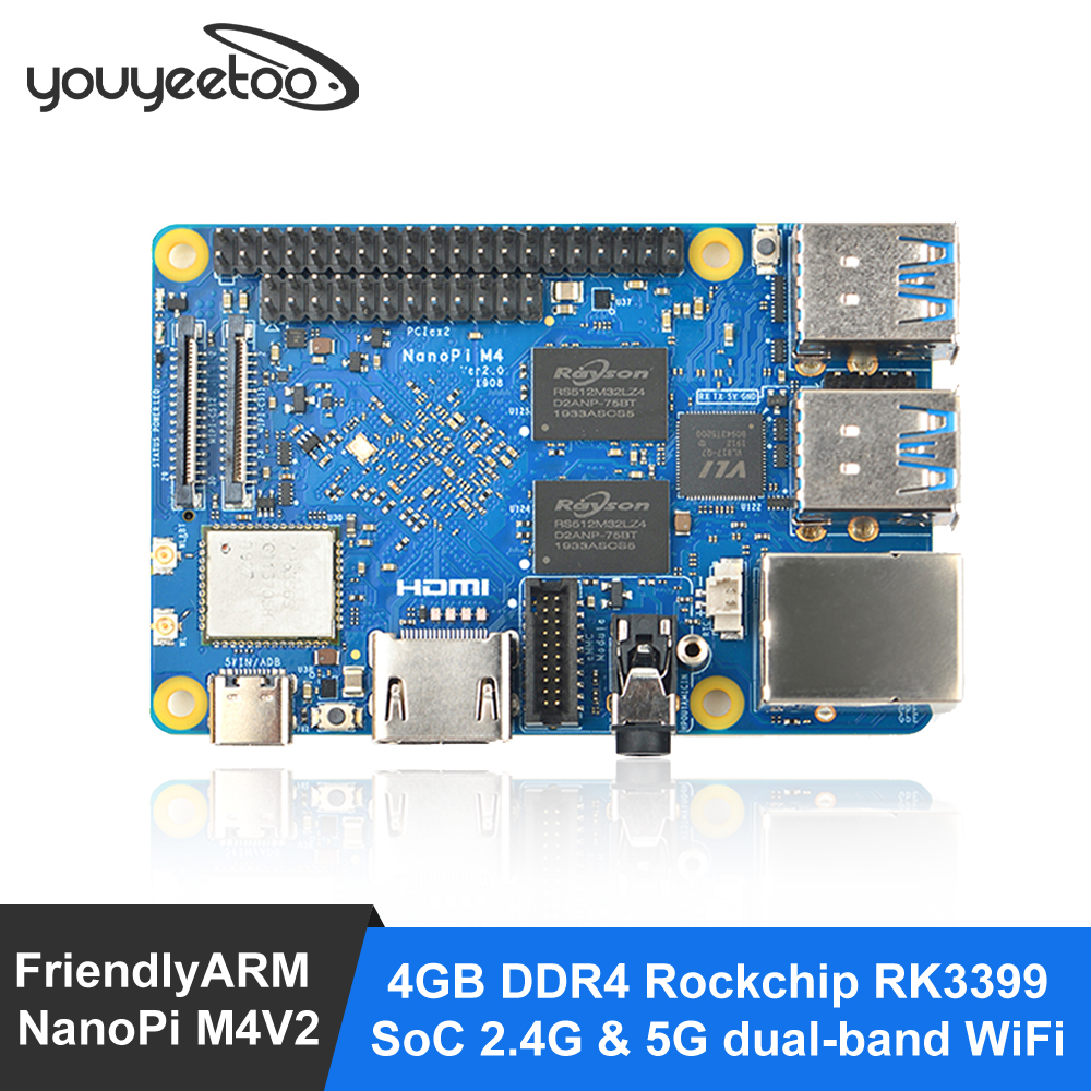 FriendlyARM NanoPi M4V2 4GB DDR4 Rockchip RK3399 SoC 2.4G & 5G dual-band WiFi,Support Android 8.1 Ubuntu, AI and deep learning
