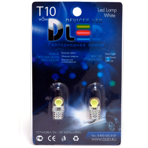 1pcs LED Car Lamp T10 - W5W - 2 HP 1W