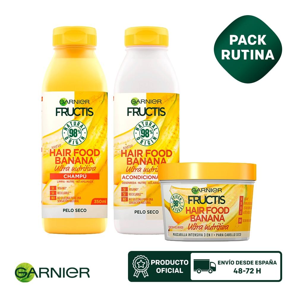 GARNIER Fructis Hair Food Champú 350ml, Mascarilla Capilar 3 en 1 para Pelo Seco 390ml, Acondicionador 350ml Banana Nutritiva|Sets de cuidado del cabello| - AliExpress