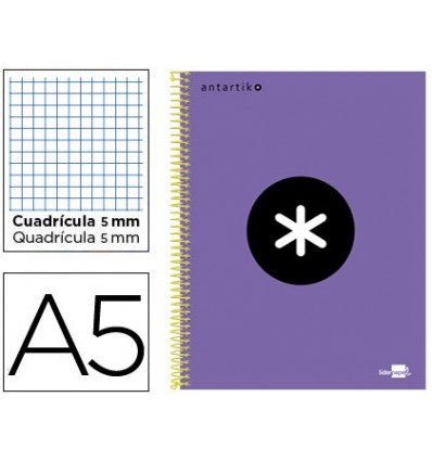 SPIRAL NOTEBOOK LEADERPAPER A5 MICRO ANTARTIK LINED TOP 120H 100 GR CUADRO5MM 5 BANDS 6 DRILLS VIOLET COLOR