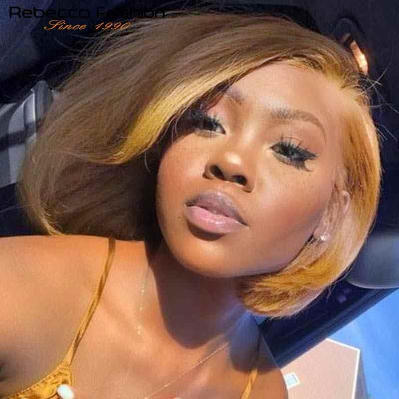 Rebecca человеческие волосы парики синтетический фронтальный парик светлые волосы медовые золотые прямые карамельные светло-коричневые основные 100% натуральные черные волосы