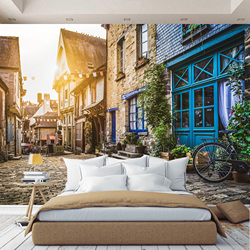 3D wall mural expanding Street space, wallpaper on the wall, for Hall, kitchen, bedroom, nursery, wall mural expanding space