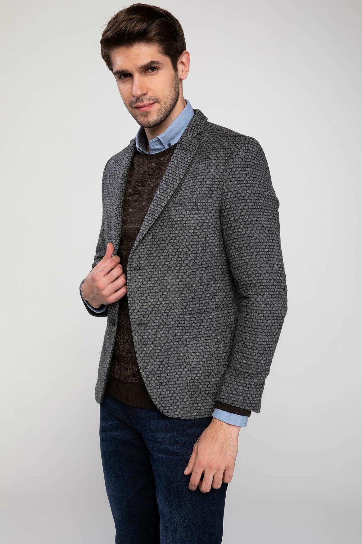DeFacto Men Business Blazer Male Long Sleeve Official Formal Blazer Suits Silver Grey Fit Mens Suit Office Wear -J4353AZ18WN