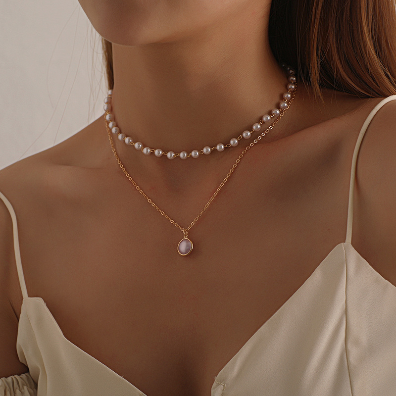 Fashion Chain Pearl Necklace For Women Baroque Pearl Metal Charm Pendants Necklaces Choker Bead Chain Jewelry Gifts 1