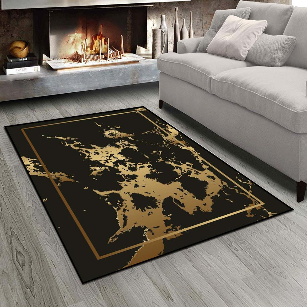 Else Black Golden Yellow Splash Paint Borders 3d Print Non Slip Microfiber Living Room Modern Carpet Washable Area Rug Mat