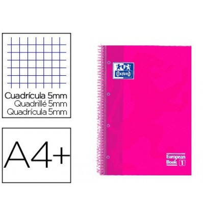 SPIRAL NOTEBOOK OXFORD EBOOK 1 TOP EXTRADURA DIN A4 + 80 H GRID 5 MM PINK RASPBERRY TOUCH 5 PCs