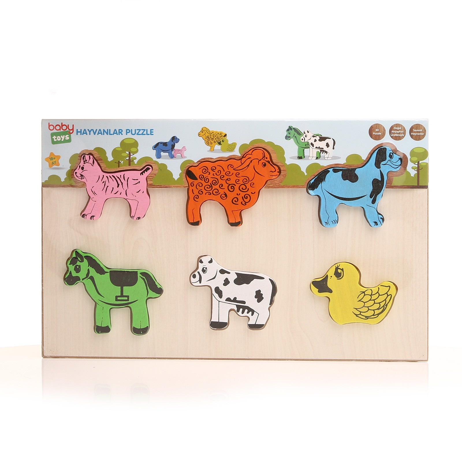Ebebek Baby Toys Wooden Animals Baby Puzzle
