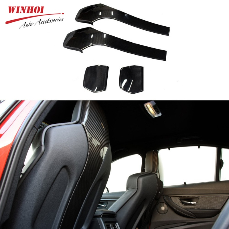 4pcs Carbon Fiber Seat Back Cover Seatback Shell Universal For BMW M Series M3 F80 M4 F82 F83 2014-up Chair Back Patch Benches