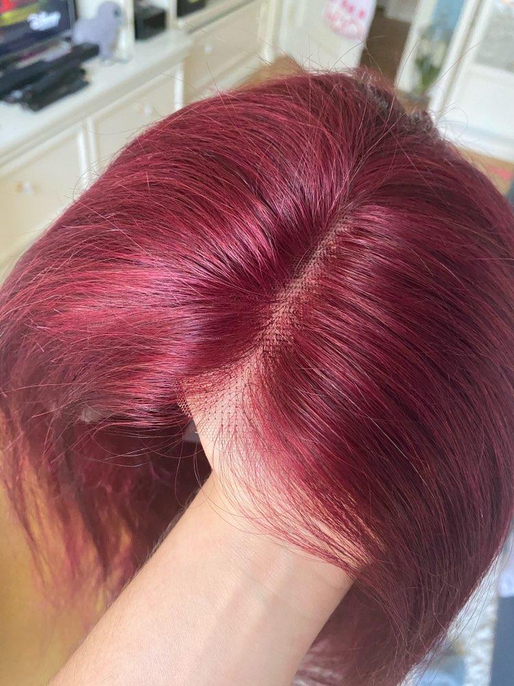 Short Bob Wigs 150% Burgundy Brazilian Human Hair Wig 13x6 Lace Front Human Hair Wigs photo review