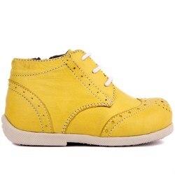 Zapatos de bebé de cuero amarillo Sail Lakers