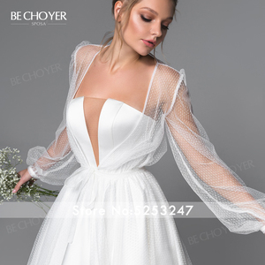 Image 4 - Elegant 2 In 1 Satin A Line Wedding Dress Illusion Court Train Princess BE CHOYER EL01 Bride Gown Customized Vestido de Noiva