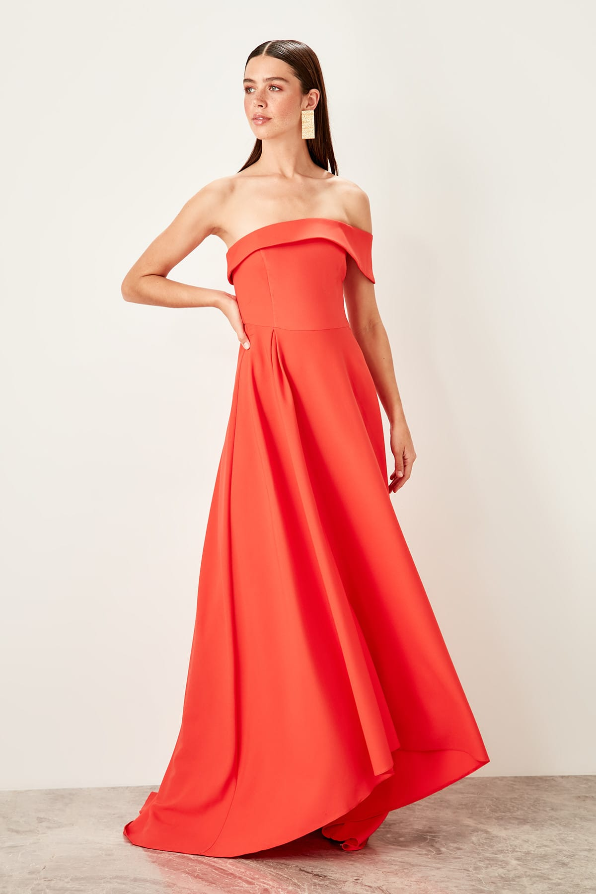 Trendyol Collar Detail Evening Dress Dress TPRSS19BB0410