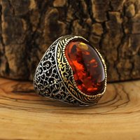 925 Sterling Silver Ring for Men Amber Dust Stone Jewelry fashion vintage Gift Onyx Aqeq Mens Rings All Size Made in Turkey