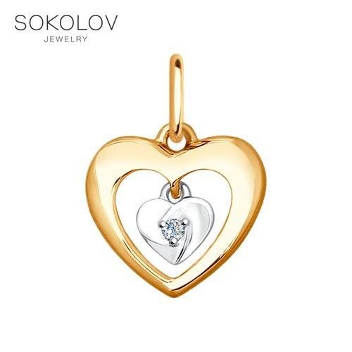 Pendant SOKOLOV Mixed Gold With Diamond Fashion Jewelry 585 Women's Male