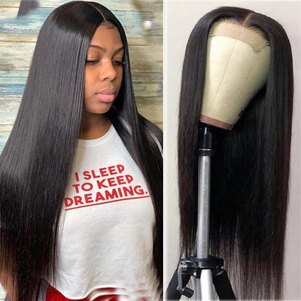4*4 Lace Closure Human Hair Wigs For Woman Middle Part Human Hair Wigs Perplucked With Baby Hair Brazilian Straight Remy Hair