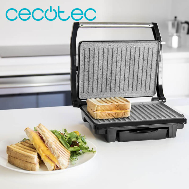 Cecotec Rock'nGrill 1000W Electric Grill And Sandwich Maker Ecological Coating With Grease Tray Wide Surface Floating Plate
