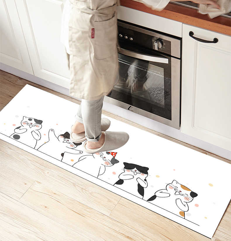 Else White Black Funny Little Cats 3d Print Non Slip Microfiber Kitchen Counter Modern Decorative Washable Area Rug Mat