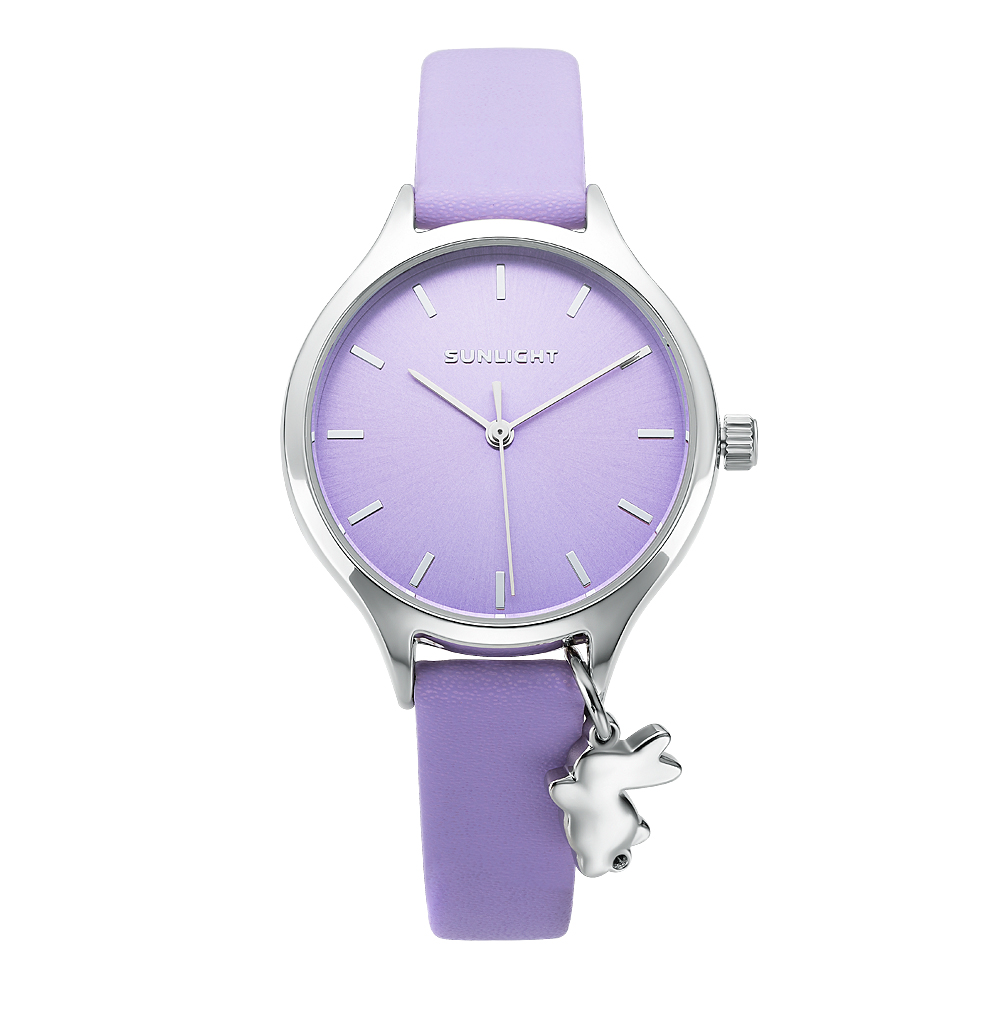 Women's Watch With Pendant On Leather Belt Sunlight