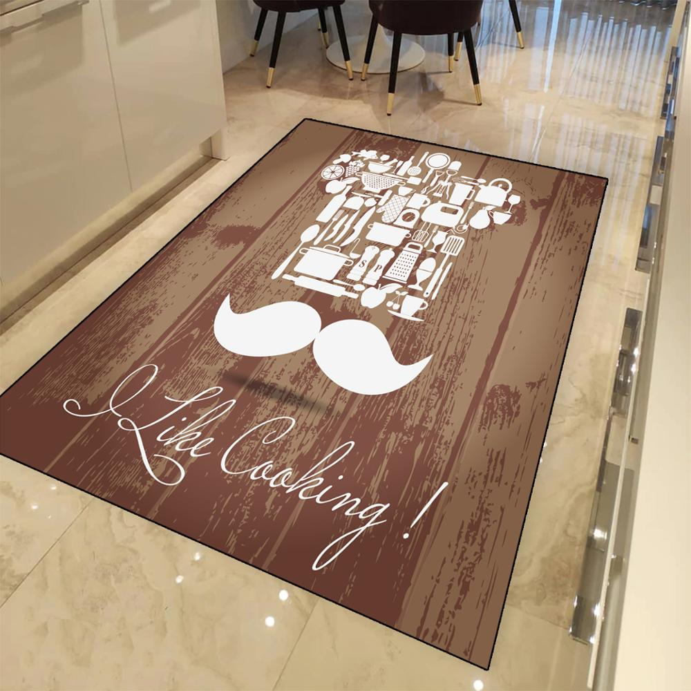 Else White  Mustache Chef On Wood Like Cooking 3d Print Non Slip Microfiber Kitchen Modern Decorative Washable Area Rug Mat