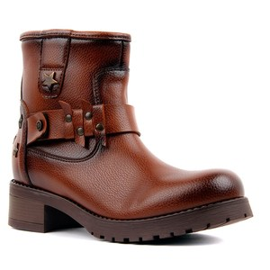 Image 2 - Moxee Tan Leather Women Boots Autumn Winter Boots Shoes Woman Fashion Round Toe Zipper Combat Ladies Shoes Casual Spring Female Ankle Boots Size 36 40 2019 Hot New